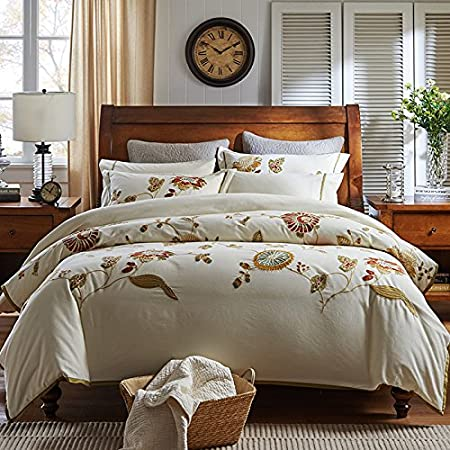 ZHUDJ Cotton Embroidery Sanded Six Sets Of High End Cotton Bedding Sheets  Fitted Models,