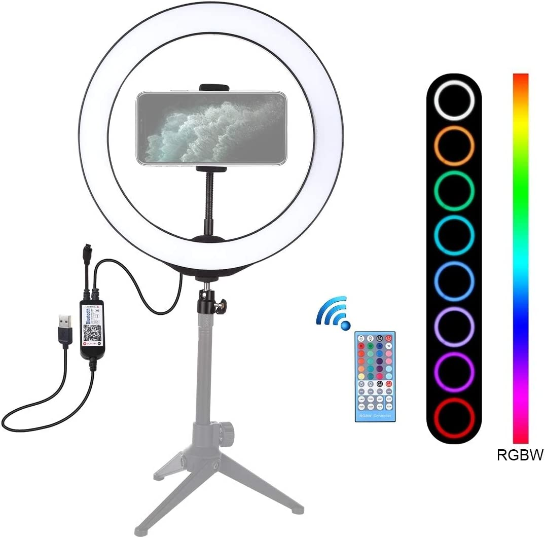 Black HUANGMENG HUANGMENG Photographic Equipment 10.2 inch 26cm USB RGBW Dimmable LED Ring Vlogging Photography Video Lights with Cold Shoe Tripod Ball Head /& Remote Control /& Phone Clamp
