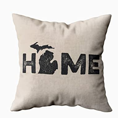 TOMKEY Hidden Zippered Pillowcase Michigan Home State Love 18X18Inch,Decorative Throw Custom Cotton Pillow Case Cushion Cover for Home Sofas,bedrooms,Offices,and More