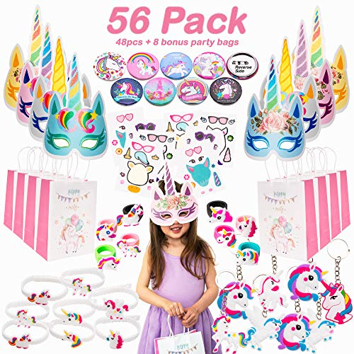 (Alfavors Unicorn Party Favors Supplies MEGA SET (56 pcs) - Huge Variety of Unicorn Toys for Girls + Party Favor Goodie Bags - Ideal Birthday Gifts or Fillers for Piñatas, Treasure Chests, Lucky Dips, and Classroom Prizes )