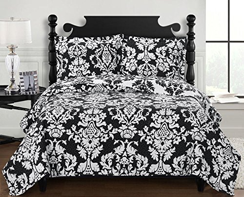 Bold Floral Print - Elegance will envelope any space with the King/California king Catherine Quilt set; Bold black and white floral print on a negative positive reversible cover; 100% microfiber fabric; hypoallergenic