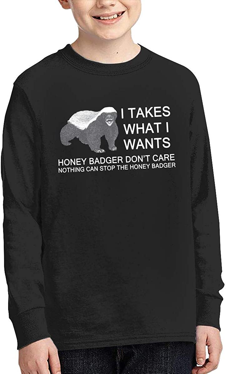 Honey Badger Youth Long Sleeve Moisture Wicking Athletic T Shirts Casual Tee Graphic Tops for Teen Boys Girls