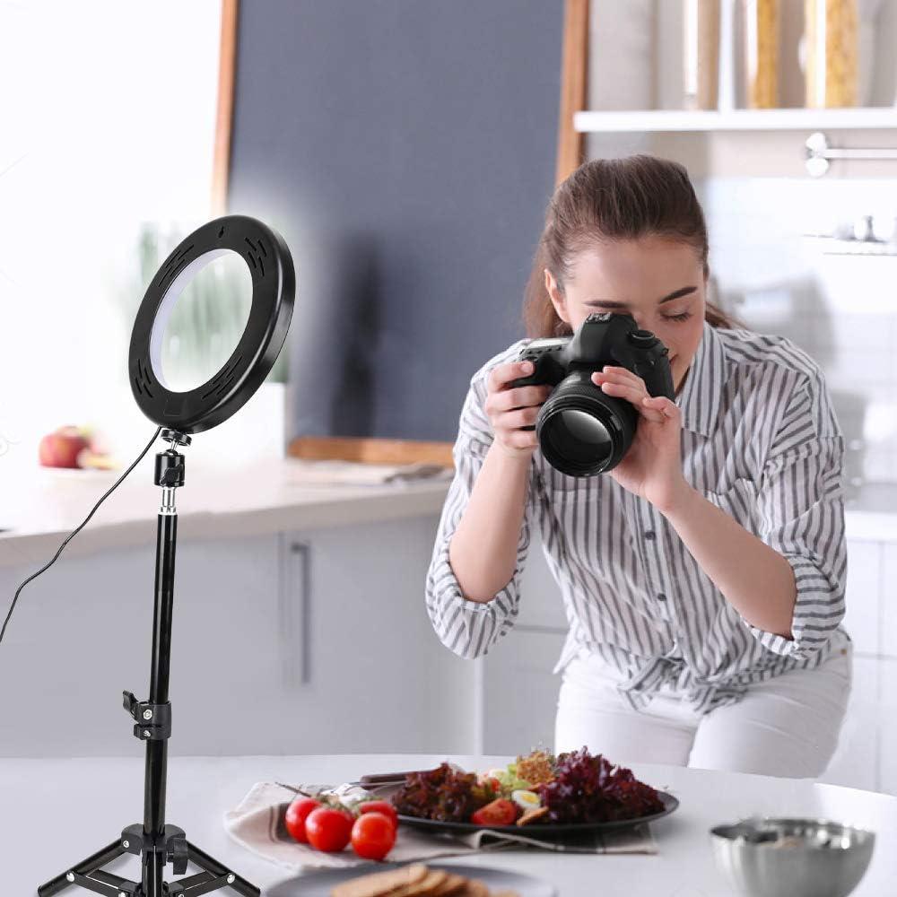 Docooler 8 Pulgadas Luz de Anillo LED de Escritorio 3 Modos de Iluminaci/ón USB Regulable Alimentado Tr/ípode con Control Remoto para Youtube Live Video Selfie para Samsung Xiaomi Huwei