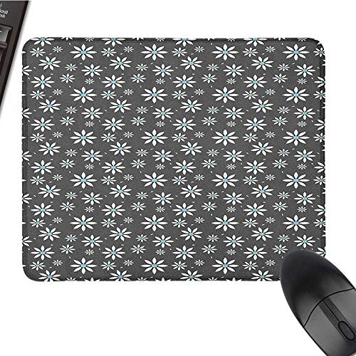 Office Mouse Pad Floral,Blooming Spring Flowers Abstract Simplistic Design Nature Composition, Pale Blue Grey White Anime Mouse pad 15.7 x23.6 INCH ()