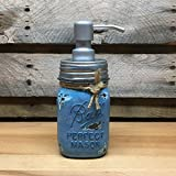 vintage ball jar blue - Handpainted Denim Blue Vintage Ball Perfect Mason Jar Soap Dispenser with Silver Pump, also for use with Lotion, Sanitizer, or Mouthwash, Custom Colors Available!