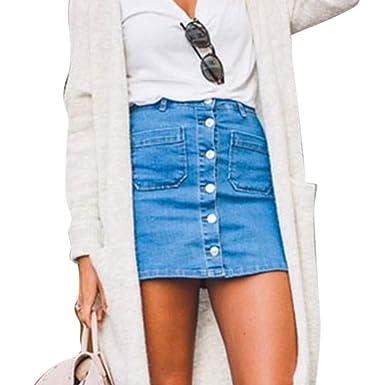 cffba43ae63a9c Wenyujh Femme Mini Jupe Jeans Bouton Taille Haute Bodycon Denim A ...