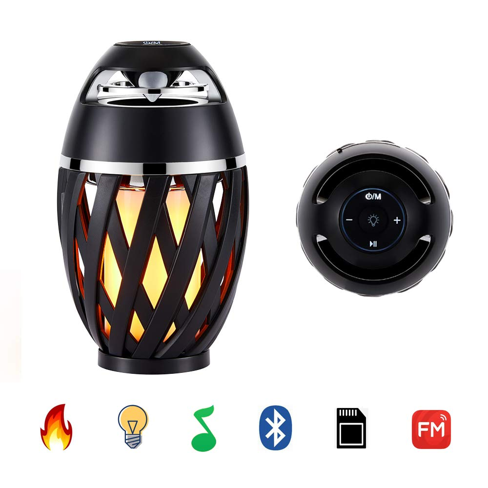 LED Flame Table Lamp,Outdoor Torch Atmosphere Bluetooth Speakers with Stereo Sound, Exclusive BassUp, HD Audio,Fm Radio,Wireless Portable Table Lamp,Night Light Speaker BT4.2 for iPhone/iPad/Android