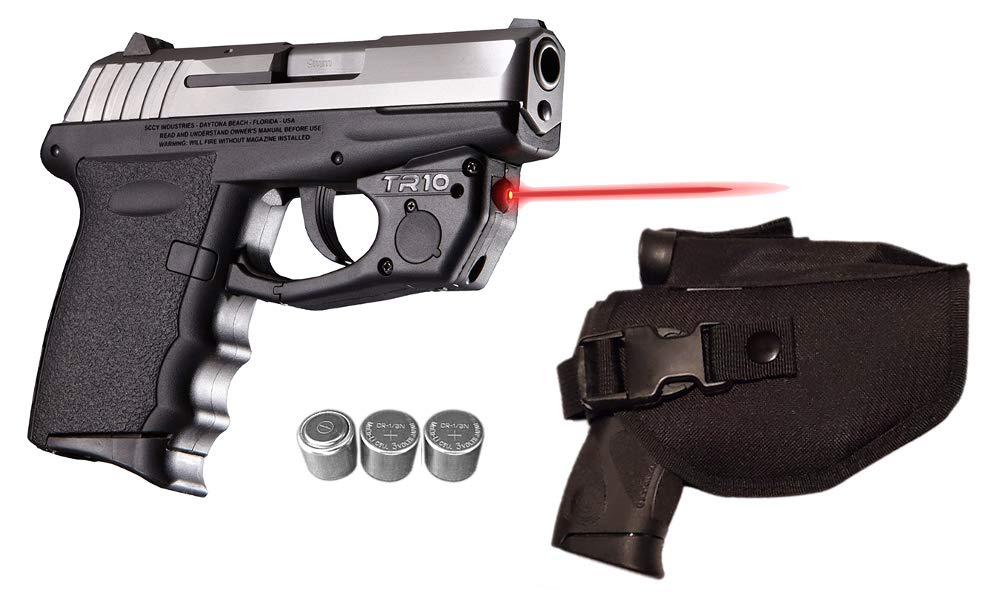 Laser Kit for SCCY CPX-1, CPX-2, CPX-3 w/Holster, Touch-Activated ArmaLaser TR10 Red Laser & 2 Extra Batteries