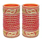 Lucky Jewellery Bangle Set for Women (Red) (1188-M1C1-723-R24)