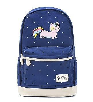 e91476b796 YOURNELO Teen's Lovely Fashion Pusheen The Cat School Backpack Rucksack  (Blue ...