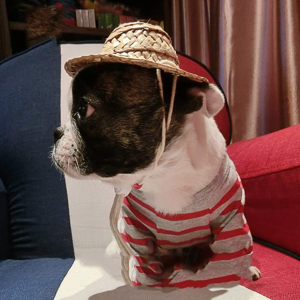Uokoki Mascota Sombrero de Paja Pelo del Animal dom/éstico Decoraci/ón Farmer Sombrero apoyos de la Foto artesanales Tejidas Gorros Puntales