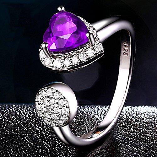 Sterling Silver Purple Natural Amethyst Heart Gemstone Open Ring