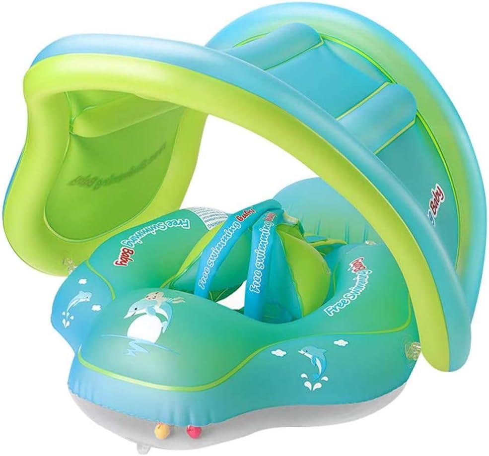 PYXZQW Flotador bebé Inflables del Anillo, con Asiento y la sombrilla Techo, Piscina de Agua Diversión Actividad al Aire Libre para la Edad de 3-36 Meses del niño