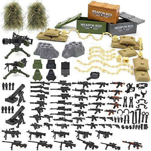 Feleph Military Army Weapons,Weapon Accessories Block Building Toy Sets Custom Figure Modern Assault Equipment Pack Compatible with Major Brands,Nice DIY Battle Toy Gift for Kids Boys -