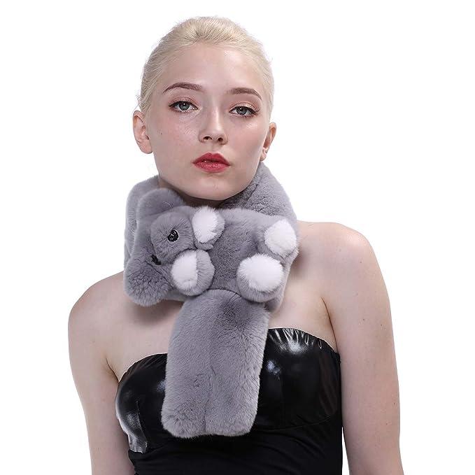 Bufanda real de la piel del conejo de Rex de las mujeres Bufanda encantadora del abrigo del oso caliente del invierno: Amazon.es: Ropa y accesorios
