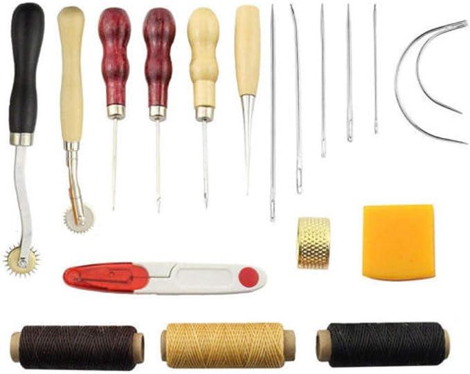 Beunyow 14 Piezas Kit de Herramientas de Coser de Cuero Artesanía de Costura Manual de Bricolaje con Ranurado, Punzón, Hilo Dedal, Aguja de Cuero Punzón de Perfomación Kit de Estampado de Hilo: