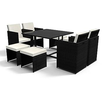 Amazon.de: Gartenmöbel Set groß XL schwarz mit Sitzkissen Poly ...