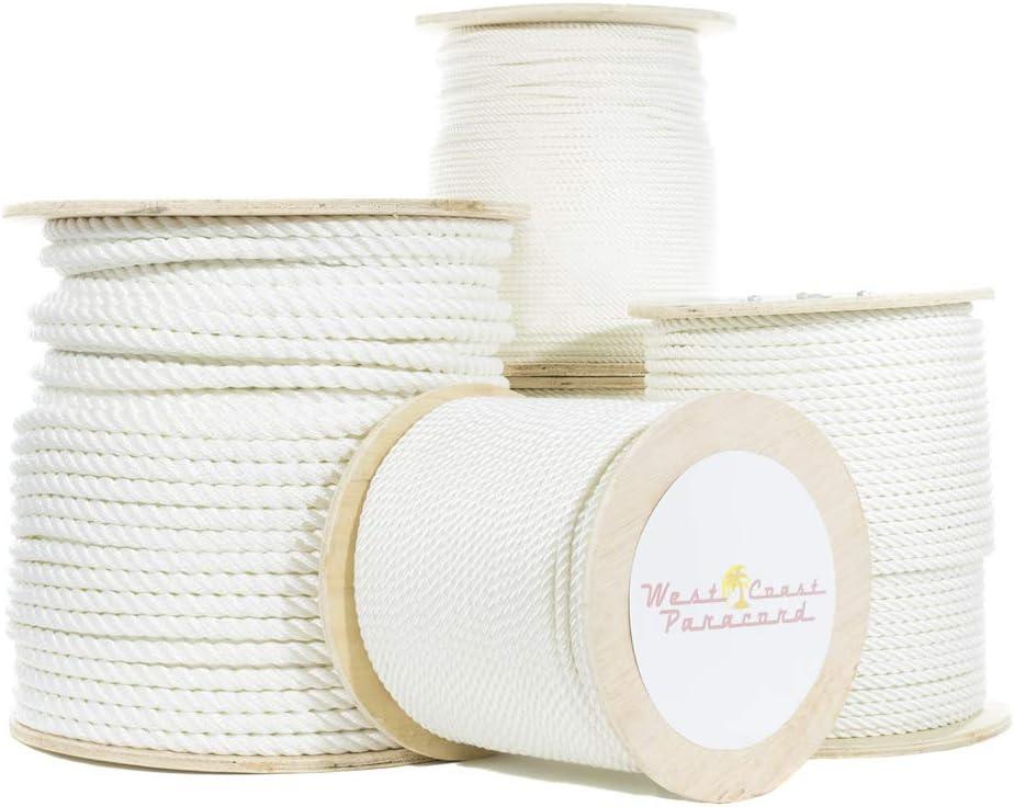 5//16 Inch x 50 Feet Premium White Twisted Nylon Rope Multipurpose Utility Line