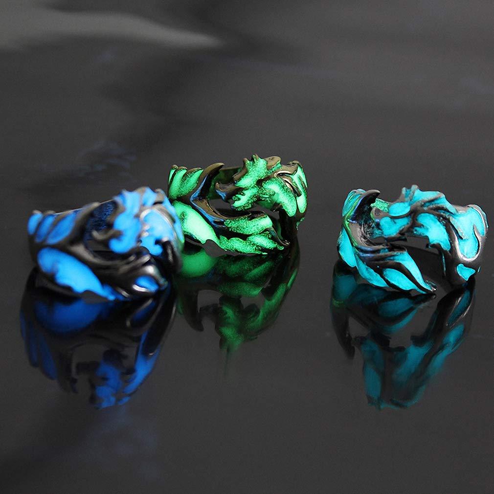 King Will Aurora 7mm//8mm Green//Blue Celtic Dragon Aurora Luminou Glow Black//Silver Titanium Wedding Ring for Unisex