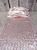 TRLYC 13 x 120 Inch Sparkly Rose Gold Sequin Table Runner,Sequin Tablelcoth Rose Gold