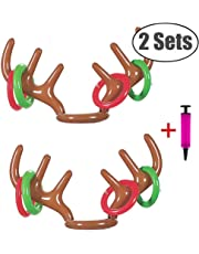MAKFORT 2 Pcs Christmas Party Toss Game Inflatable Reindeer Antler Hat with Rings Family Kids Office Xmas Fun Games