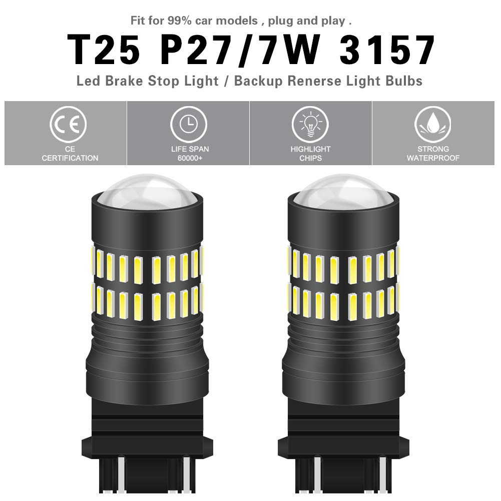 Pack of 2 NATGIC 1157 BAY15D 1034 7528 LED Bulbs Red 2400LM Extremely Bright 48-SMD 4014 LED Chipsets with Projector for Tail Brake Side Marker Parking Stop Back Up Light