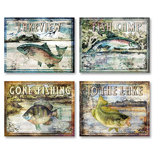 (Gango Home Decor Classic Outdoors Fishing Signs: Lakeview, Fish Camp, Gone Fishing, to The Lake; Four 14X11in Wood Mounted Prints; Ready to Hang! )