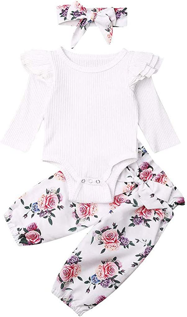 Voberry Toddler Infant Newborn Baby Girls Solid Ruched Romper Tops Floral Pants Headbands Casual Clothes Set