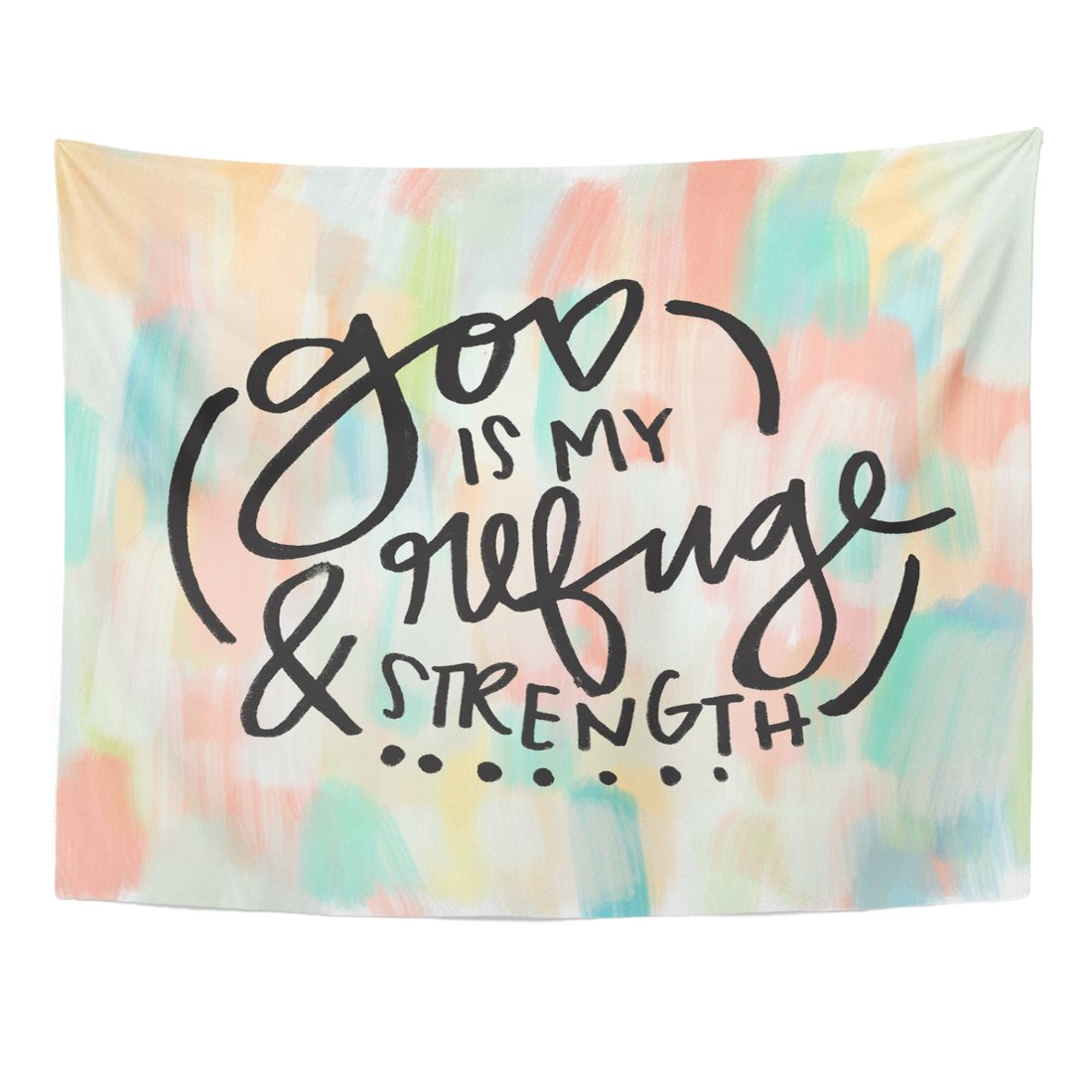 Breezat Tapestry Brush Christian God Is My Refuge and Strength Quote Bible Verse Calligraphy Home Decor Wall Hanging for Living Room Bedroom Dorm 60x80 Inches
