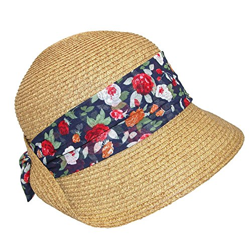 Dynamic Asia Women's Straw Cloche with Tie-Back Sash, Floral