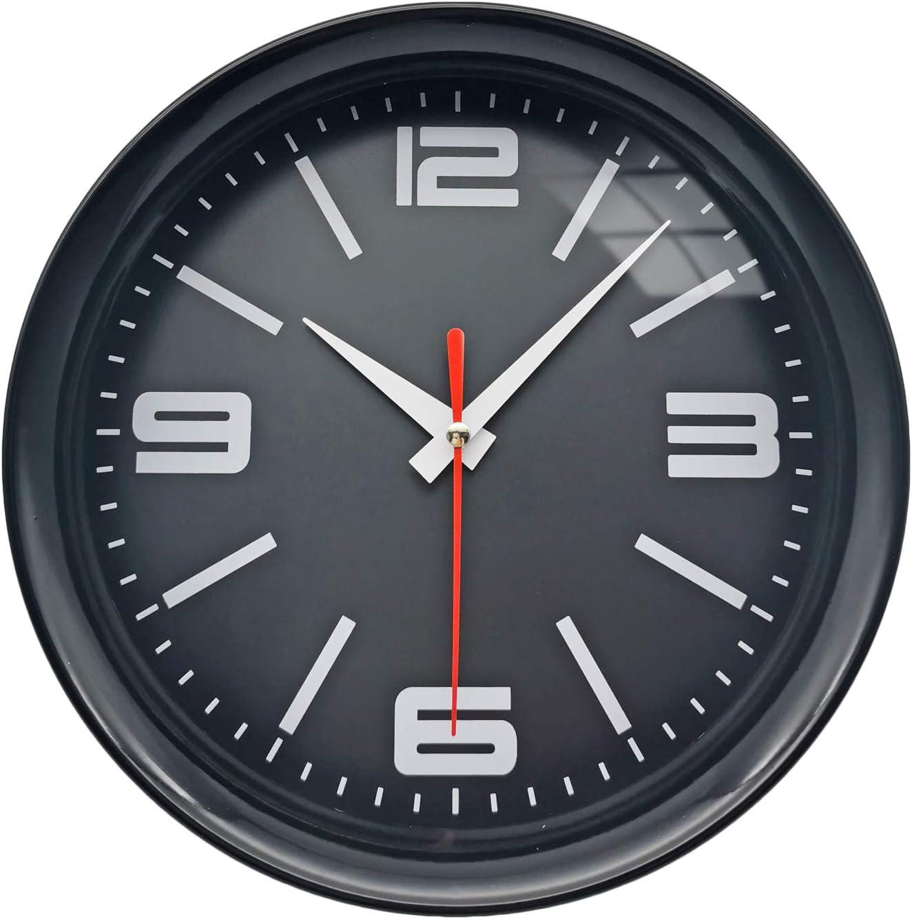 OuYun Small Black Wall Clock Battery Operated 8