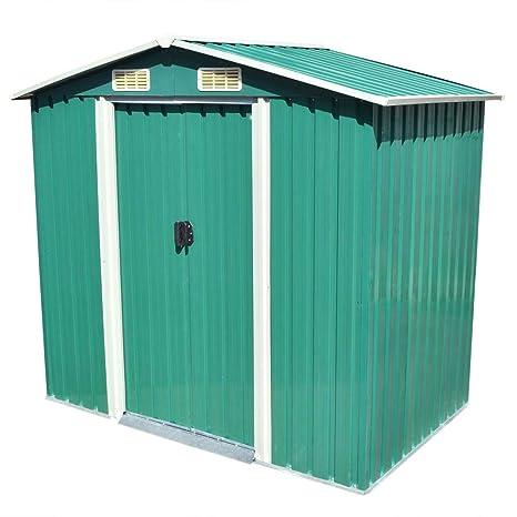 vidaXL Caseta de Almacenaje de Jardín Metal Verde 204x132x186 cm Cobertizo