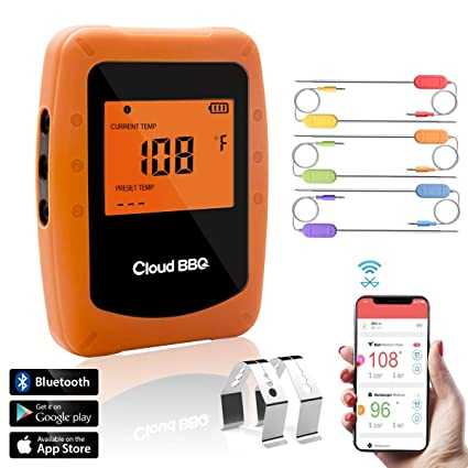 Cadrim Wireless Grill Thermometer, Digital and Instant Read Meat  Thermocouple with 6 Probes for Grilling Smoker BBQ Kitchen Food Cooking