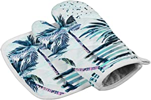 Promini Oven Mitts and K05 Tropical Palm Trees Pot Holder Grilling Gloves BBQ Heat Resistant Cooking Gloves for Uncovering The Pan,Microwave and Oven Dishes in The Kitchen