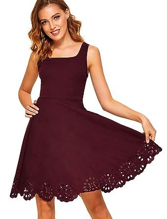 9d599cbb64 Romwe Women s A Line Swing Sleeveless Scalloped Flare Cocktail Party Dress  Burgundy S