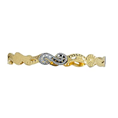 5a49cf8f1bb JJ Bangles 1 Gram Gold Plated Golden and Silver Embossed Designed Bangle  (2.6)