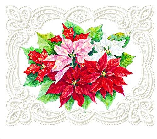 Carol Wilson Fine Art Inc- Christmas Poinsettias - Embossed & Die Cut Blank Notecards with Portfolio Box(byFor Arts Sake) - ncpx2217