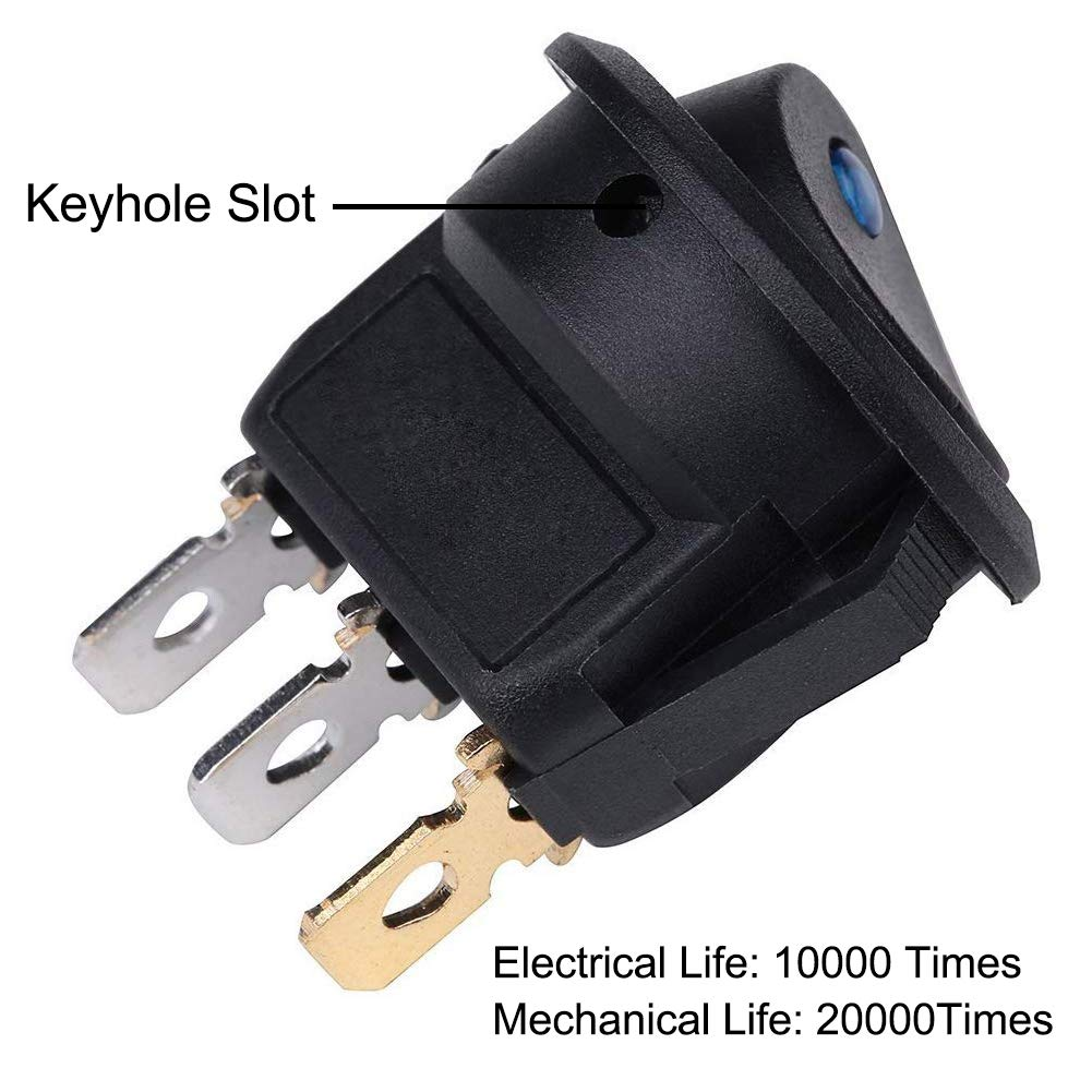 Bkinsety 12Pcs Ronda Rocker Bot/ón Interruptor DC 12V LED Interruptor Coche SPST Interruptores para Coche Barco Cami/ón