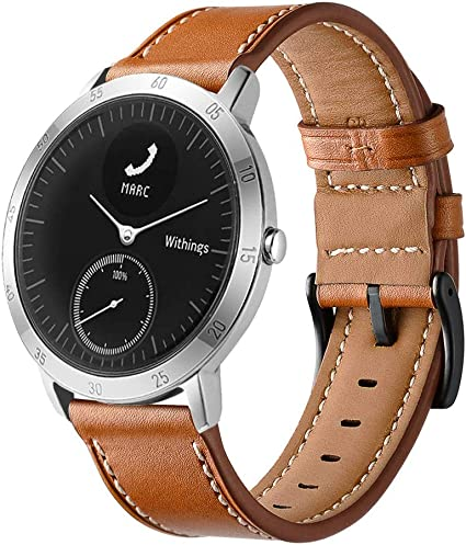 LeafBoat Compatible with Withings/Nokia Steel HR Sport Smartwatch (40mm) Band, Geniune Leather Replacement Strap Compatible Withings/Nokia Steel HR ...