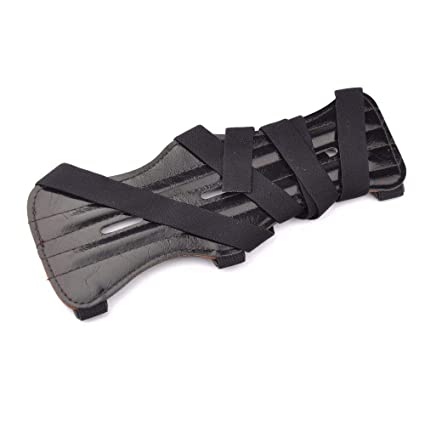 Black Cow Leather 3 Strap Shooting Target Archery Arm Guard Protect Safe Strap