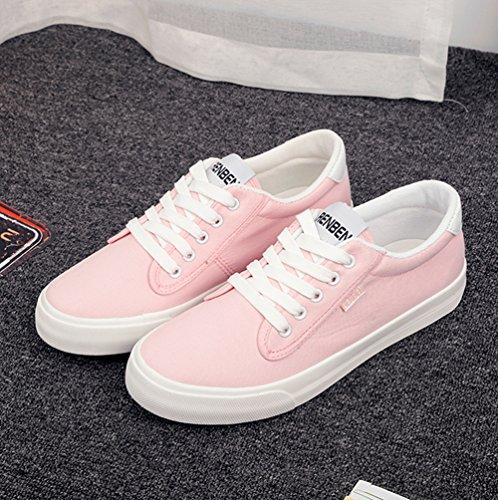 Aisun Damen Klassisch Canvas Low Top Schnürsenkel Flache Sportlich Sneakers Pink