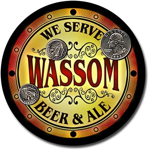 Wassom Family Name Beer and Ale Rubber Drink Coasters - Set of 4