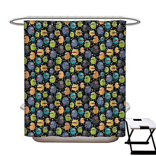 S Brave Sky Alien Polyester Fabric Shower Curtain Cute Funny Characters Cartoon Style Halloween Themed Monsters Abstract Background Waterproof/Water-Repellent & Antibacterial 63