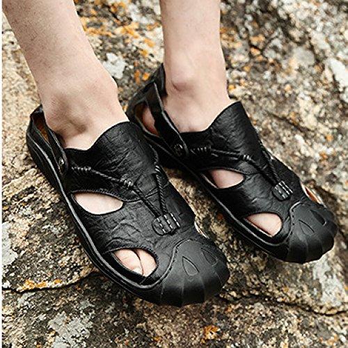 Senderismo Hgdr Trekking Cerrada Black Para Sandalias Caminar Al Aire Gancho Bota De Hombres Zapatos Cuero Libre HROHP