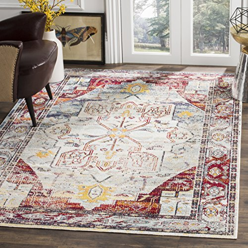 Collection 6 Light Crystal (Safavieh Crystal Collection CRS503C Light Blue and Red Distressed Area Rug (4' x 6'))