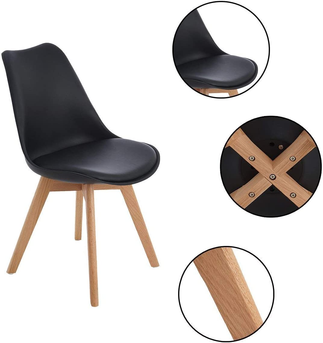 DORAFAIR Pack de 4 Sillas & Mesa, Juego de sillas de Comedor,Comedor de diseño nórdico, Color Blanco Negro aTThRR