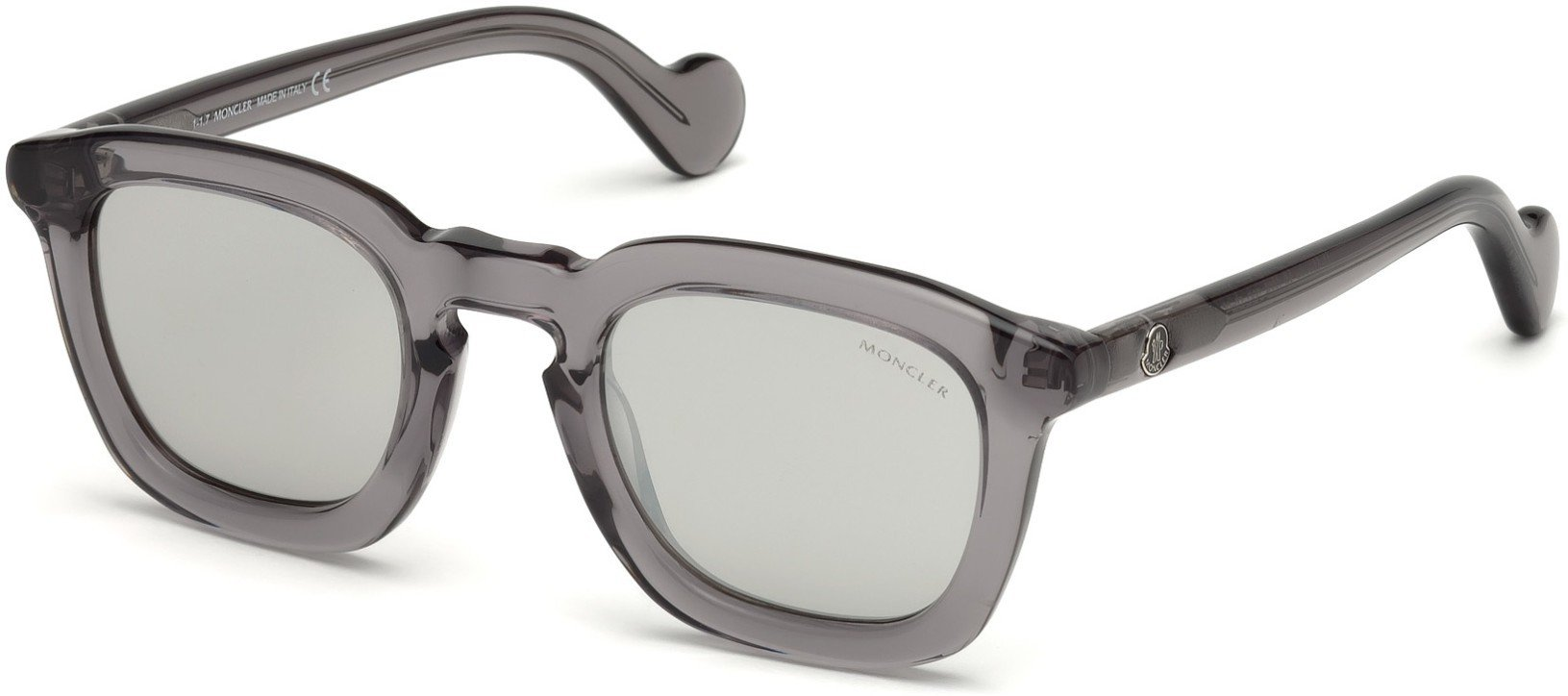 Sunglasses Moncler ML 0006 Mr 20C Shiny Transparent Grey/Smoke W. Silver Mirro