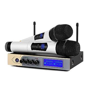 Micrófonos Inalámbricos Karaoke Micrófono bluetooth con 4.1 Dual Canal y UHF Receptor,Equipo Karaoke Cable