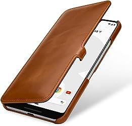 StilGut Housse pour Google Pixel 3 XL Book Type en Cuir, Cognac avec Clip
