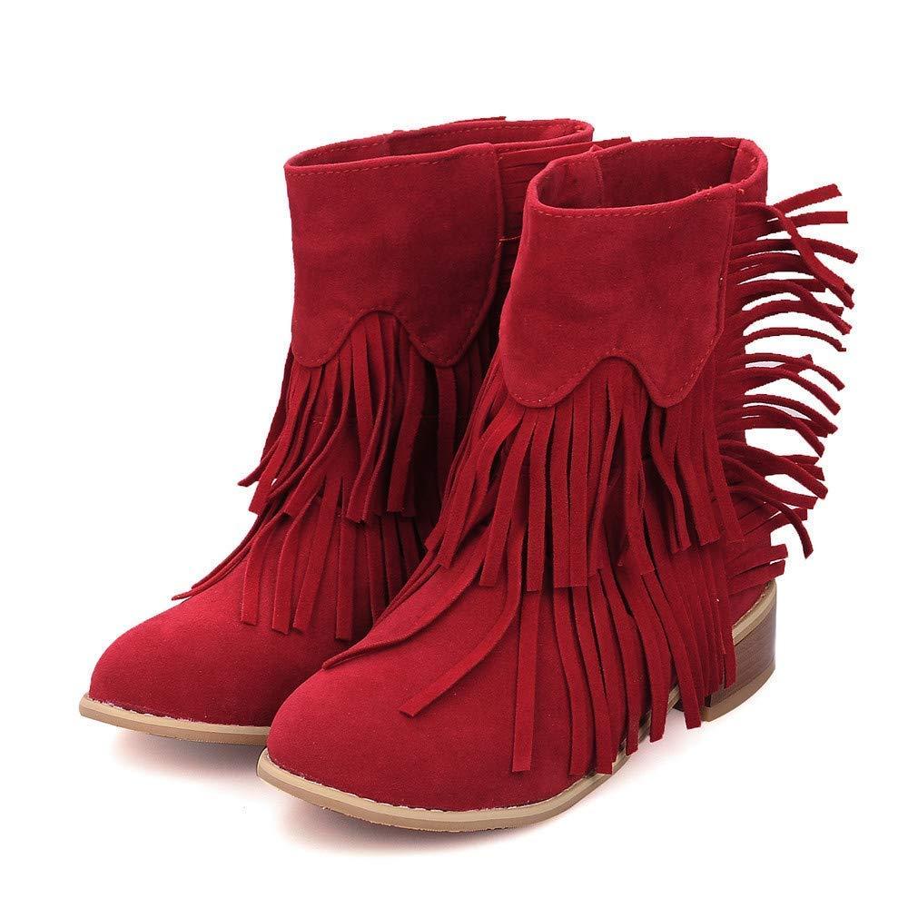 Willsego Frauen Runde Toe Schuhe Square Heel Quaste Schuhe Toe Volltonfarbe Slip-On Suede Snow Stiefel (Farbe   Rot, Größe   UK-8.5) e2f22a
